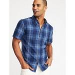 Slim-Fit Indigo-Plaid Shirt for Men
