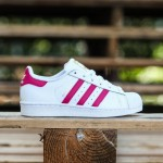 Adidas Big Kids Superstar Foundation (white / pink buzz / running white)