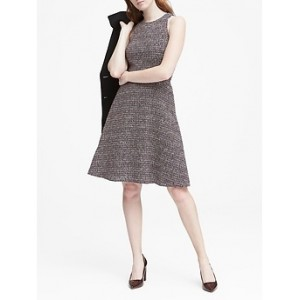 Petite Tweed Racer-Neck Fit-and-Flare Dress
