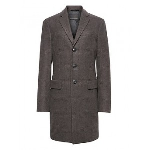 JAPAN ONLINE EXCLUSIVE Plaid Italian Melton Wool Blend Topcoat