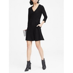 Petite Solid V-Neck Fit-and-Flare Dress