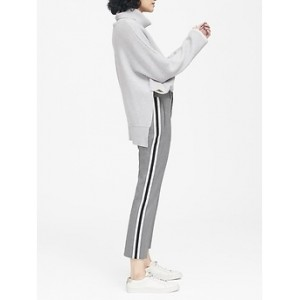 Petite Avery Straight-Fit Herringbone Side-Stripe Ankle Pant