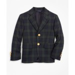 Boys Wool-Blend Two-Button Black Watch Plaid Sport Coat