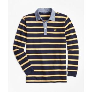 Boys Mini Stripe Chambray Pique Polo Shirt