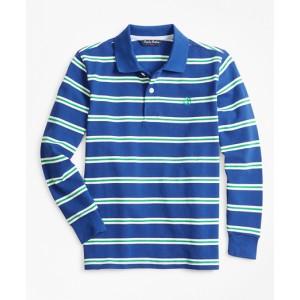 Boys Cotton Long-Sleeve Stripe Polo Shirt