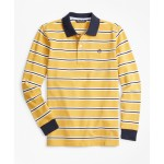 Boys Cotton Long-Sleeve Stripe Polo Shirt