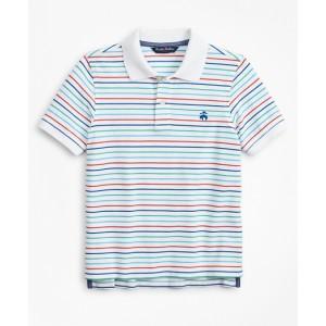 Boys Short-Sleeve Cotton Pique Stripe Polo Shirt