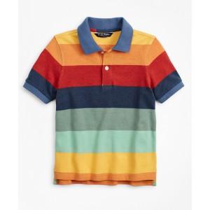 Boys Short-Sleeve Cotton Stripe Color-Block Polo Shirt