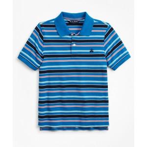 Boys Short-Sleeve Cotton Pique Multi-Stripe Polo Shirt