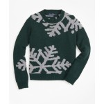 Boys Wool-Blend Oversized Snowflake Crewneck Sweater