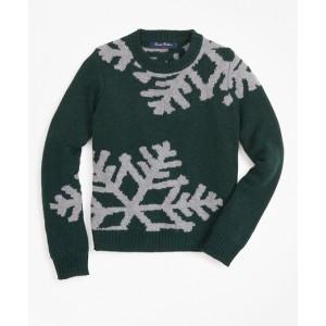 Boys Wool-Blend Oversized Snowflake Crewneck Sweater