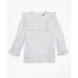 Girls Cotton Long-Sleeve Ruffle Blouse