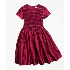 Girls Silk Smocked Dress
