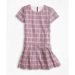 Girls Short-Sleeve Houndstooth Dress