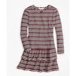 Girls Striped Ruffle Knit Dress