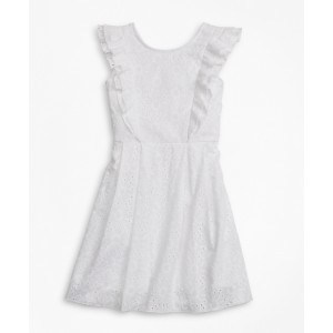Girls Sleeveless Cotton Eyelet Dress
