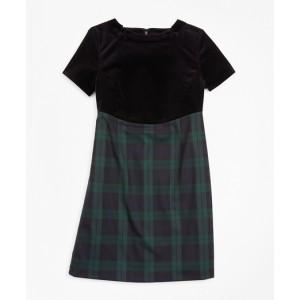Girls Velvet and Black Watch Sheath Dress