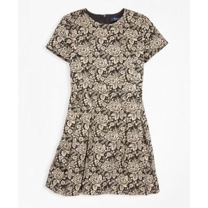 Girls Short-Sleeve Floral Jacquard Dress
