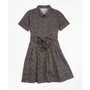 Girls Cotton Pleated Floral Print Shirt Dress