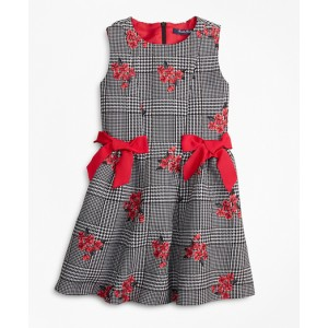 Girls Floral Jacquard and Houndstooth Dress