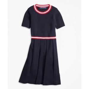 Girls Pleated Cotton Sweater Dress