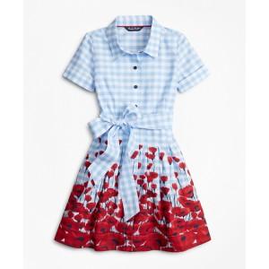 Girls Cotton Poplin Floral Shirt Dress