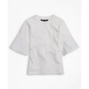 Girls Cotton Eyelet Ruffle T-Shirt