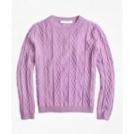 Girls Cashmere Diamond Cable Crewneck Sweater