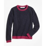 Girls Lambswool Fisherman Cable Crewneck Sweater