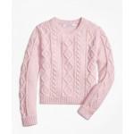 Girls Aran Cable Crewneck Sweater