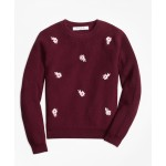Girls Cotton Floral Embroidered Crewneck Sweater