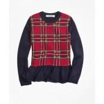 Girls Merino Wool Holiday Tartan Peplum Sweater