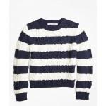 Girls Cotton Aran Stripe Sweater