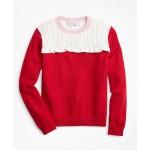 Girls Cotton Color-Block Ruffle Sweater