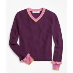 Girls Merino Wool-Blend V-Neck Sweater