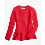Girls Merino Wool Peplum Sweater