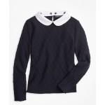 Girls Cotton Diamond Cable Sweater