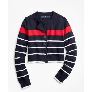 Girls Cotton Stripe Cardigan