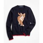 Girls Cotton Kitty Intarsia Sweater