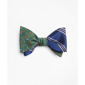 Framed Split Stripe with Lucky Motif Reversible Bow Tie