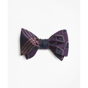 Large Diamond with Oversized Plaid Reversible Bow Tie