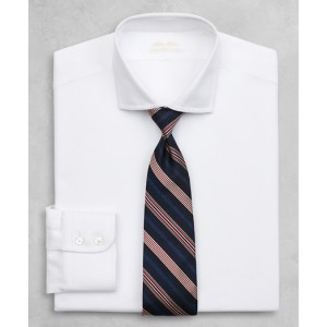 Golden Fleece Milano Slim-Fit Dress Shirt, English Collar White Herringbone