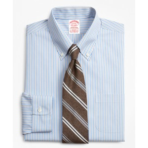 Stretch Traditional Relaxed-Fit, Non-Iron Alternating Stripe