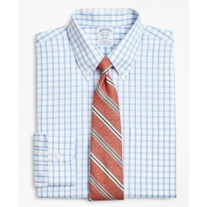 Stretch Regent Fitted Dress Shirt, Non-Iron Outline Windowpane