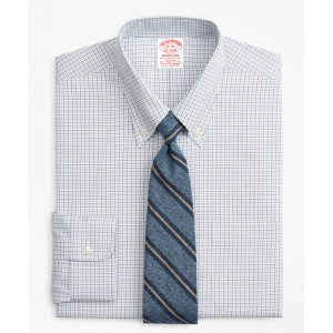 Stretch Traditional Relaxed-Fit Dress Shirt, Non-Iron Grid Check