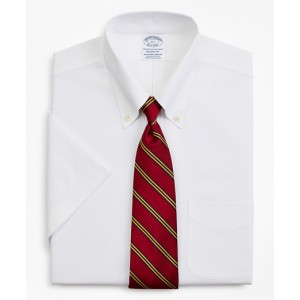 Stretch Regent Fitted Dress Shirt, Non-Iron Pinpoint Short-Sleeve