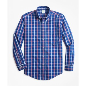 Non-Iron Milano Fit Blue and Red Check Sport Shirt