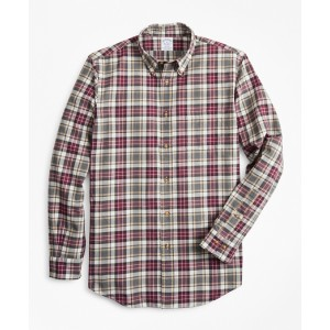 Regent Fit Multi-Plaid Brushed Flannel Sport Shirt