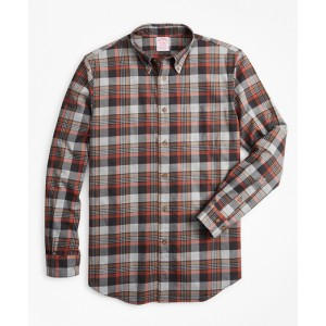 Madison Fit Grey Plaid Brushed Flannel Sport Shirt