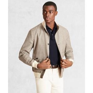 Golden Fleece Wool Linen Houndstooth Bomber Jacket